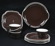 Harker Pottery 10pc Brown And White Dessert Set For 4 Cake Plate And Server 11l