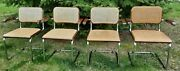 Early Thonet Marcel Breuer Cesca Cane Chrome Dining Chairs Arms Gfm Made Poland