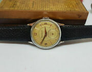 Rare 1950and039s Vintage Jaeger-lecoultre Silver Dial Sub Second Manual Wind Watch