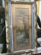 Antique Original 1800and039s Pastel Signed B. French Hunting In The Winter Unique