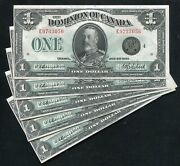 Lot Of 5 Consecutive Dc-25o 1923 1 Dominion Of Canada Banknotes Uncirculated