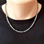 Mens Antique Silver Hematite Rondelle Necklace Jewelry Chokers Collar Gifts