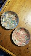 2 Antique Victorian Homemade Folk Art Ashtrays W/cigar Labels Clip Art And Letters
