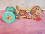 Vintage Pull Toy Noise Maker The N.n. Hill Brass Co. Metal Wheels Wooden Dog