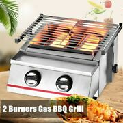 2 Burner Portable Stainless Steel Bbq Table Top Silver Gas Grill Outdoor Camp Us