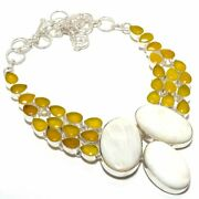 Scolecite Yellow Onyx Gemstone 925 Sterling Silver Necklace D-924