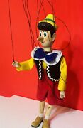 Vintage Hand Carved Wooden Marionette Puppet Pinocchio 16 Nicely Made