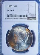 1925-p 1 Silver Peace Dollar - Ngc Ms65 Stunner White Dollar Looks 66 To Me.028