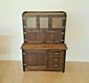 Antique Child Size Hoosier Bakers Cabinet Wood Handmade 19th Century Very Rare