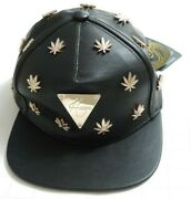 2013 Hater Snapback Leather Black And Gold Cannabis Weed Leaf Studs Buckleback Htf