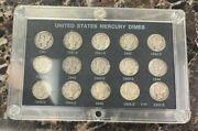 1941-1945 P-d-s Mints Mercury Silver Dimes Set Of 15 Wwii In Holder You Grade
