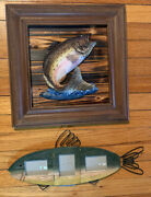 Vtg 3d Rainbow Trout Framed Art And Picture Frame Lot 2 Fish Fly Fishing Decor