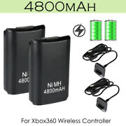 2x For Xbox 360 Wireless Controller Battery 4800mah And Usb Charging Charger Cable