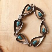 Beautiful Rancho Alegre Modernist Sterling Silver Turquoise Bracelet Taxco