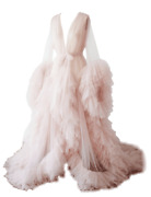 Long Tulle Sleepwear Robes Women Sheer Sexy Nightgown Puffy Pregnancy Photoshoot