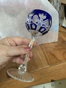 Vintage Val St Lambert Cobalt Blue Cut To Clear Crystal Wine Glass