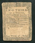 Cc-22 February 17 1776 2/3 Two Thirds Dollar Continental Currency Noteandnbsp