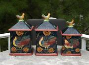 3 Susan Winget Rooster Canisters Square Air Tight Seal Certified International