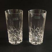 Galway Lead Crystal Highball Tumblers Longford Signed Ireland Org Sticker 2 Pcs