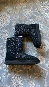 Ugg Womens Boots Classic Short Size 7 Zodiac Bling Black Authentic New