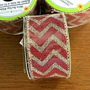 Floral Garden 1.5andrdquo Wide Burlap Wire Edge Ribbon - 9 Ft / 3 Yds Red Zigzag