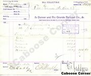 Rgs Rio Grande Southern Signed By Otto Mears Bill Collectible And Voucher 1892