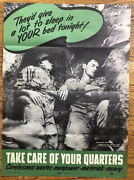 Original Poster Wwii Take Care Of Your Quarters Soldiers Sleeping World War 2