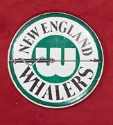 Vintage 1970's New England Whalers Wha Hockey Team Pin Pinback Button Early Old