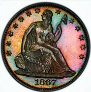 Look @ This 1867 Pf63 Seated Liberty Half Dollar Proof / Pop 39. Wow Coin