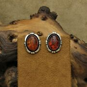 Vintage Navajo Sterling Silver Amber Clip Earrings By Lonnie Willie