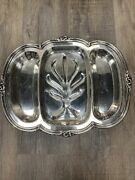 Rare Silver Plate Roaster Platter Sheffield Design Reproduction Community Footed