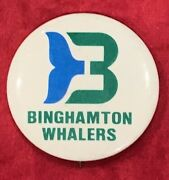 Vintage 1980's Binghampton Whalers Ahl Hockey Team Pin Pinback Button Early Old