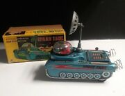 Vintage Rare Toy Battery Operated Space Tank M-18 Litho Tin Toy Japan W/orig Box