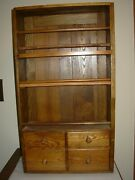 Antique Oak Wall Cabinet With 3 Open Shelves 4 Drawers Solid Wood Farmhouse Diy