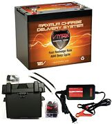 Vmaxmr107 85ah Agm Battery +group 24 Marine Box+cables+circuit Breaker+ Charger