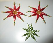Vintage Beaded Snowflakes Red Green Mercury Glass Christmas Ornaments Lot 3