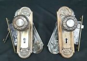 Pair Of Mortice Locks With Doorknobs Backplates And Key