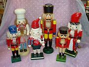 Vintage, Lot Of 6, Assorted Wooden Nutcrackers, Toymaker, Chef, Soldier.......