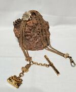 Georgeous Gold Filled Heavy Ornate Pocket Watch Fob 10k Gold Accents 13 Chain