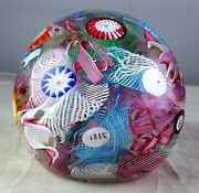Vintage Murano Tight Packed Millefiori 1885 Date Cane Art Glass Paperweight