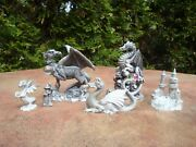 Lot Of 6 Pewter Mystical Mini Dragon Figures- Schromb, Gibbons, Spoontiques