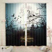 Many Crows In Sky Under Cold Night Printing 3d Blockout Curtains Fabric Window