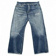 Yohji Yamamoto Pool Om Pour Homme Damage Stitched Spotted Horse Denim Jeans