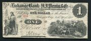 1862 1 Exchange Bank Of A.j. Perrin And Co Marshall Michigan Obsolete Banknote