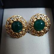 Auth Vintage Cc Green Gripoix Clip On Earrings Gold Used From Japan F/s