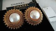 Auth Vintage Pearl Sun Round Clip On Earrings Gold Used From Japan F/s