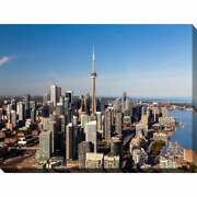 Toronto, Ontario Giclee Print Canvas Wall Art - Blue/brown Extra Large