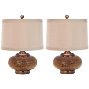 Alexis 19 In. Copper Bead Table Lamp With Taupe Geneva Shade Set Of 2