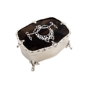 Antique Edwardian Sterling Silver And Shell 2 1/2 Trinket Box - 1909