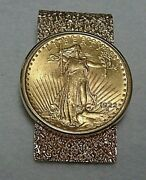 1922 Us Saint Gauden 20 Dollar Gold Piece In 14k Money Clip